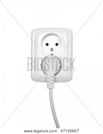 Electric outlet isolated on white with clipping path