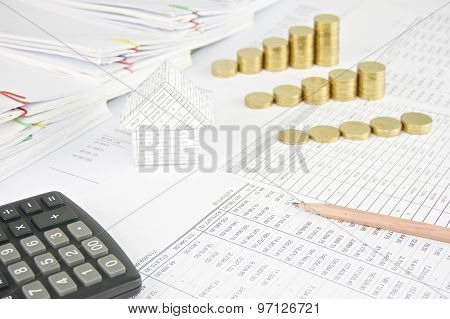 Pencil With House And Group Step Pile Of Gold Coins