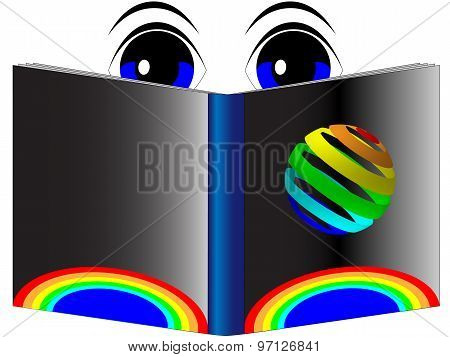 Blue eyes reading a book with a rainbow cover