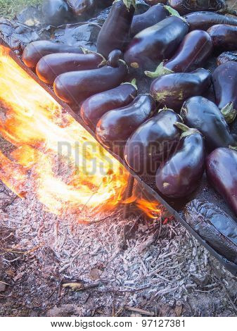 cooking eggplants prepared to be preserve for the winter