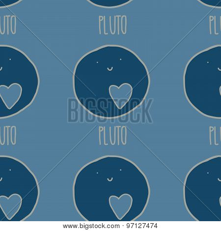 Pluto cute seamless vector pattern in beautiful blue colors.