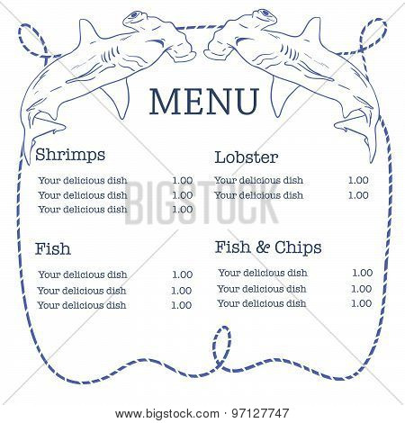 Vector nautical seafood menu with hammerhead shark and rope frame