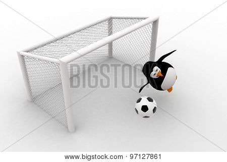 3D Penguin Goal Keeper Try To Stop Goal Concept