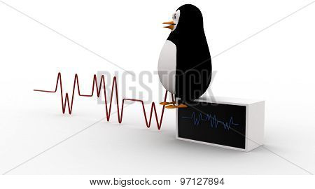 3D Penguin Monitoring Heart Beat Concept