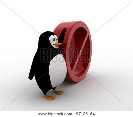3D Penguin With No Entry And Stop Sing Concept