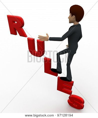 3D Man Waling On Rules Text Concept