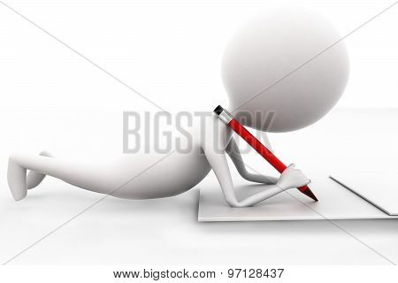 3D Man Writing With His Pencil On Paper Concept