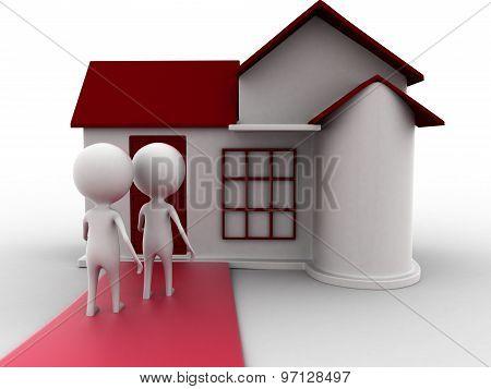 3D Person Entering House Concept