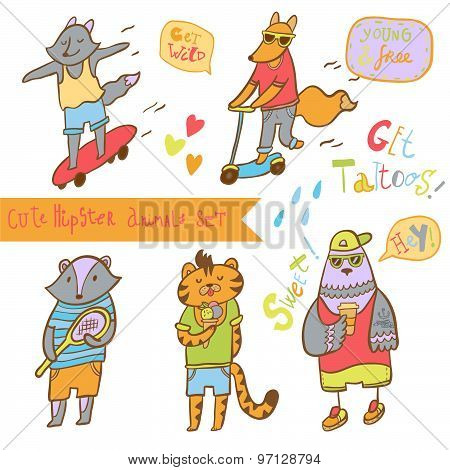 Cute hipster animal in summer vacation. Vector illustration. Set of characters.