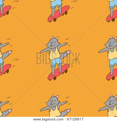 Hipster Wolf Riding Longboard Seamles Vector Pattern