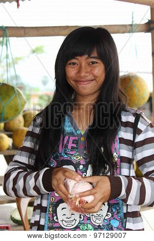 Young Indonesian Fruit Seller
