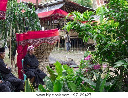 Torajan Men At A Funeral Ceremony