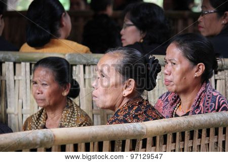 Three Senior Woman Sit A Funeral Ceremony