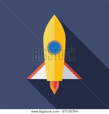 Rocket Icon. Flat Vector Icon With Long Shadow Design Collection.