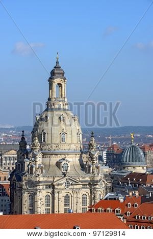 View Towards Frauenkirche From Kreuzkirche Bell Tower, Dresden, Saxony, Germany.