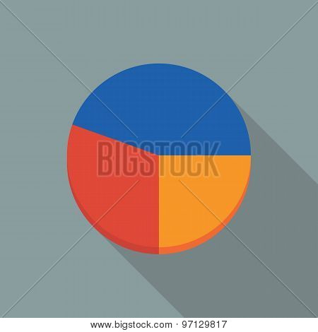 Pie Chart Icon. Flat Vector Icon With Long Shadow Design Collection.