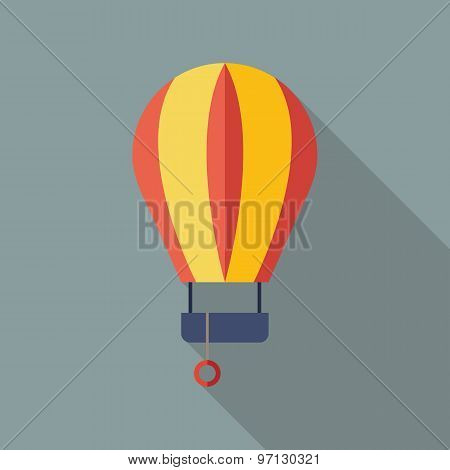 Balloon Icon. Flat Vector Icon With Long Shadow Design Collection.