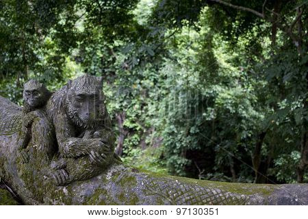 Monkey Statue In The Ubud Sacred Monkey Forest