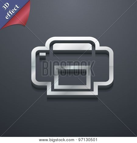 Printing Icon Symbol. 3D Style. Trendy, Modern Design With Space For Your Text Vector