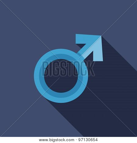 Male Gender Symbol Icon. Flat Vector Icon With Long Shadow Design Collection.