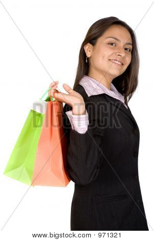 Beautiful Business Woman With Shopping Bags