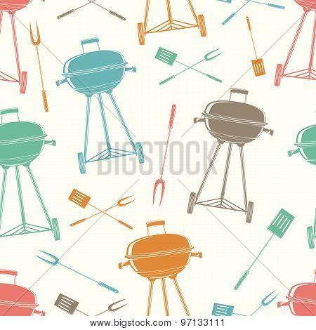 Retro BBQ grill, seamless pattern.