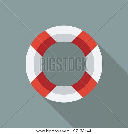 Lifebuoy Icon. Flat Vector Icon With Long Shadow Design Collection.