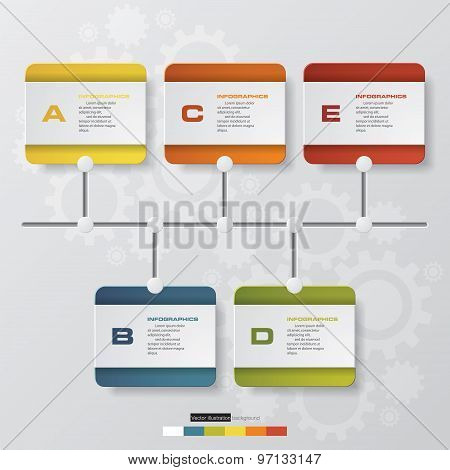 time line description. 5 steps timeline infographic with global map background.
