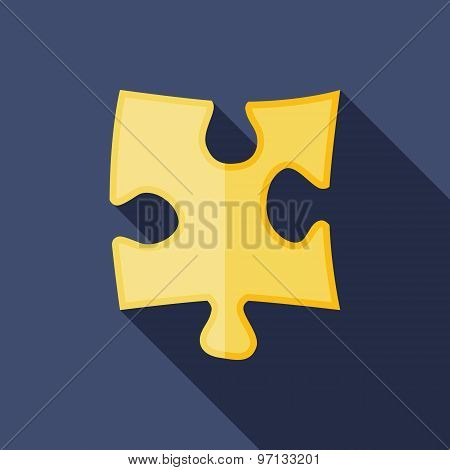 Puzzle Icon. Flat Vector Icon With Long Shadow Design Collection.