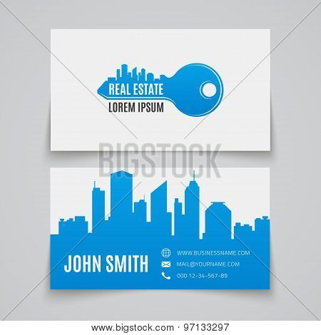 Business card template. Real estate.
