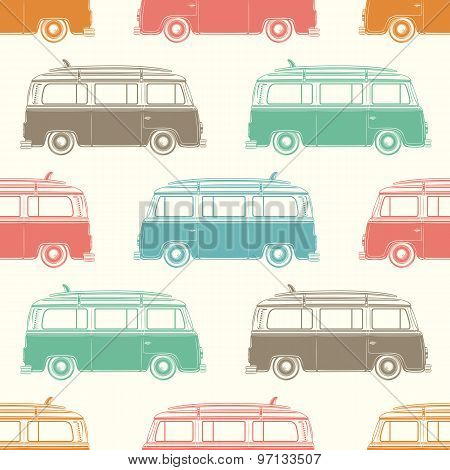 Retro camper van with surfing board. Seamless pattern.