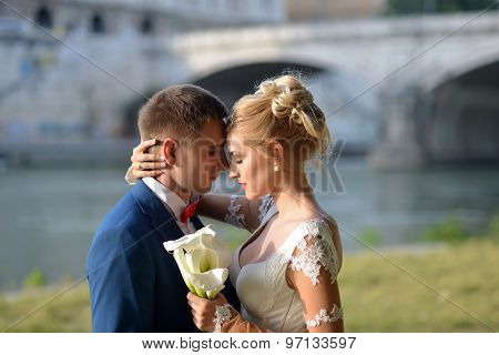 Tender Wedding Couple Outdoor