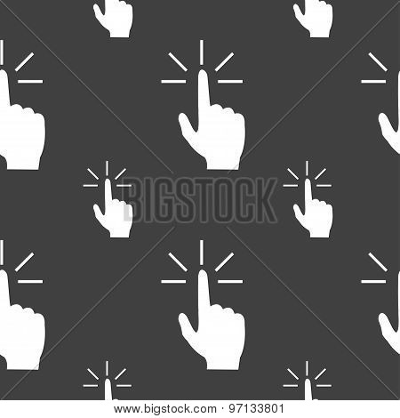 Click Here Hand Icon Sign. Seamless Pattern On A Gray Background. Vector