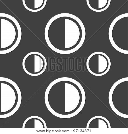 Contrast Icon Sign. Seamless Pattern On A Gray Background. Vector