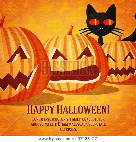 Happy halloween greeting card with black cat and carved pumpkins fading to the perspective.