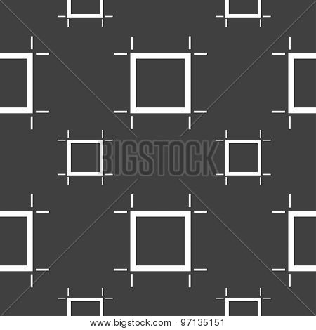 Crops And Registration Marks Icon Sign. Seamless Pattern On A Gray Background. Vector