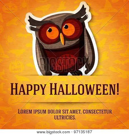 Happy halloween greeting card with brown owl sticker cut from the paper.