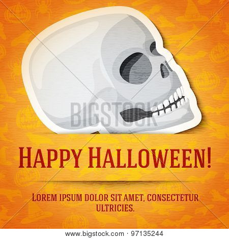 Happy halloween greeting card with white human skull sticker cut from the paper.