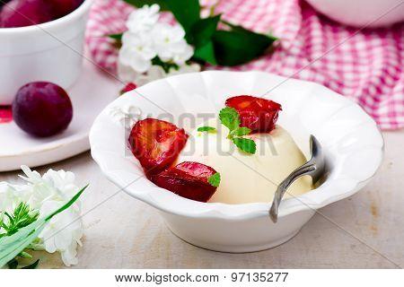The Panna Cotta  With Plum Sauce