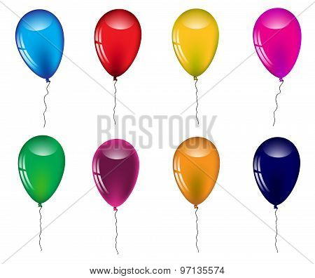 Set Of Colored Balloons On A White Background.vector