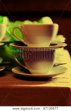 White Cups And Saucers Close Shot