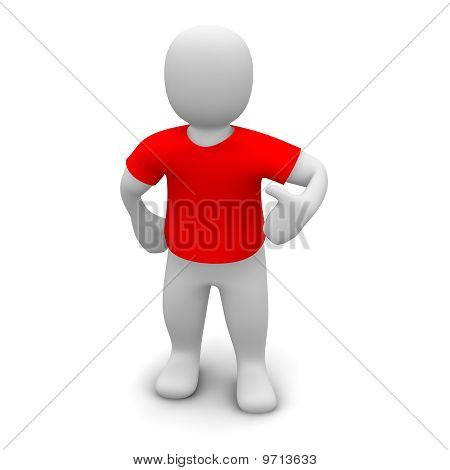 Man wearing red t-shirt