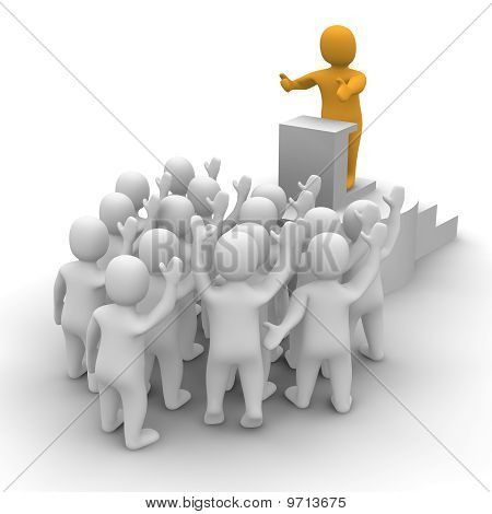 Líder falando ao público