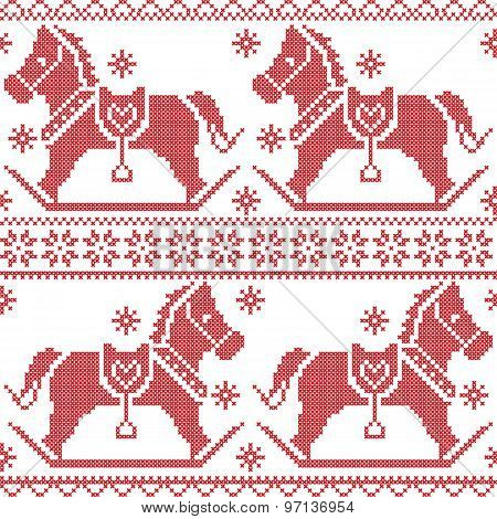 Scandinavian seamless Nordic Christmas pattern with rocking horses, snowflakes,hearts,  snow, stars,