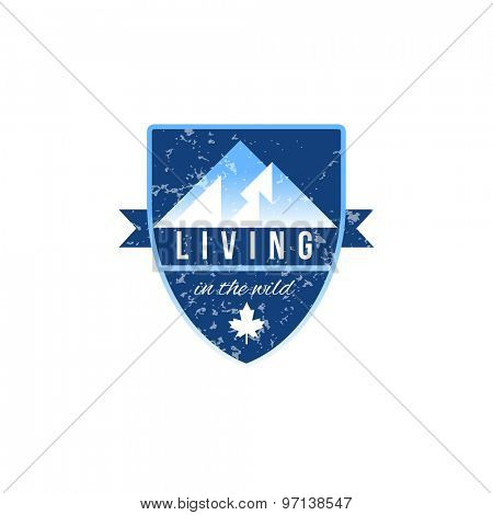 Living in the wild label on white background