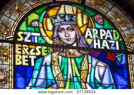 Stained Glass Portrait of St. Elizabeth, Budapest, Hungary