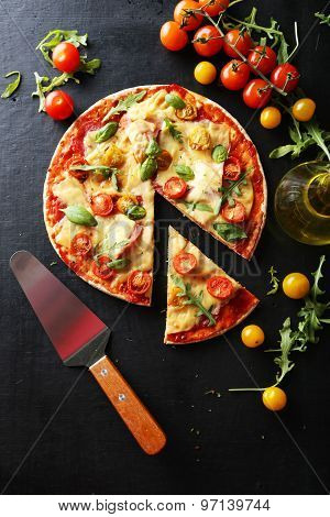 Fresh Tasty Pizza On Black Background