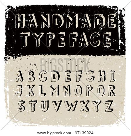Handmade typeface - hand drawn alphabet