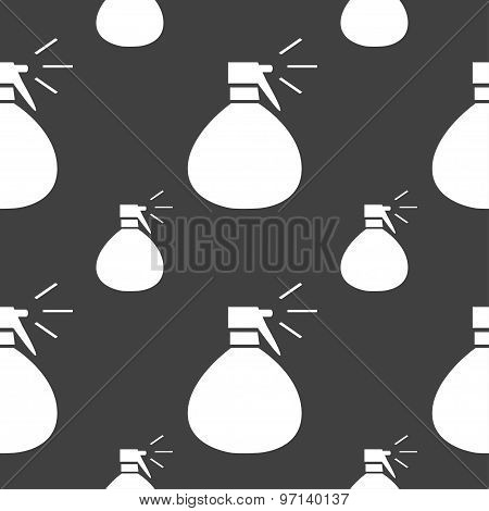 Plastic Spray Of Water Icon Sign. Seamless Pattern On A Gray Background. Vector