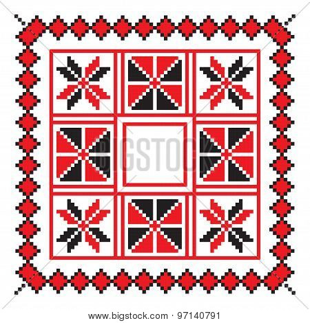 Ethnic Ornament Mandala Geometric Patterns In Red Color